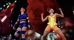 Winnie Chang dancing right of Katy Perry in concert. Photo courtesy of Chang.