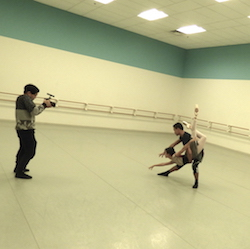 Atlanta Ballet dancers and Videographer AJ Paug. Photo by Allison Gupton.