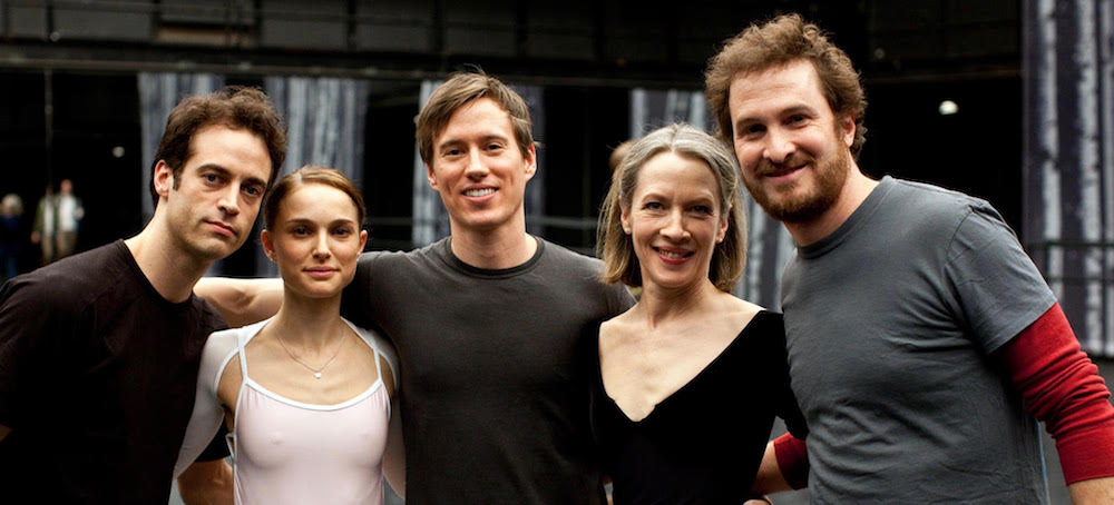 'Black Swan' on set with Benjamin Millepied, Natalie Portman, Kurt Froman, Christine Redpath and Darren Aronofsky. Photo by Niko Tavernise.