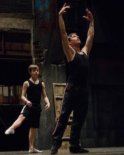 Kurt Froman teaching Daniel Russell on 'Billy Elliot the Musical' second national tour. Photo by Kyle Froman.
