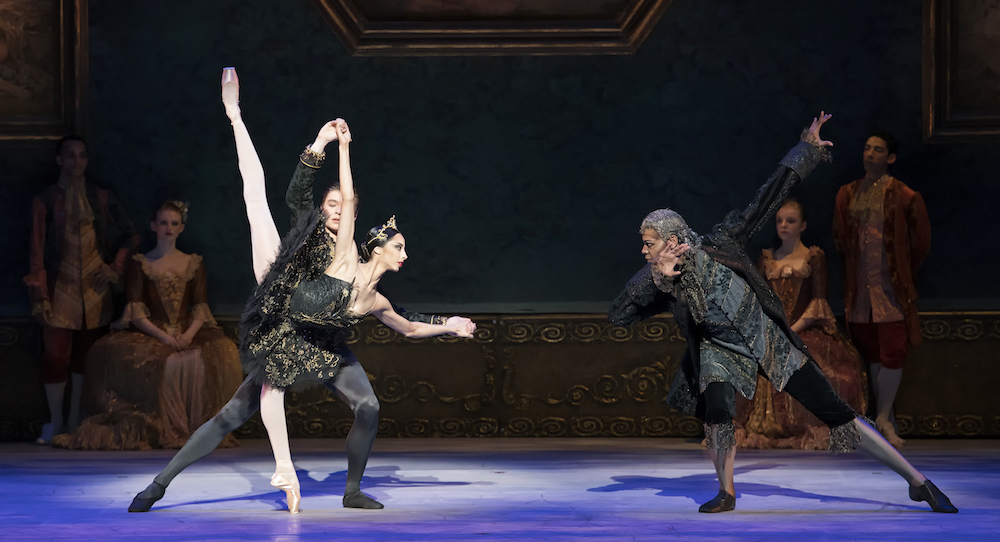 Jessica Assef and Nikolas Gaifullin, with Keith Reeves in Atlanta Ballet's 'Swan Lake'. Photo by Gene Schiavone.