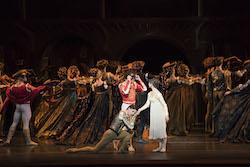 Paulo Arrais, Misa Kuranaga and Florimond Lorieux in John Cranko's 'Romeo & Juliet'. Photo by Liza Voll, courtesy of Boston Ballet.