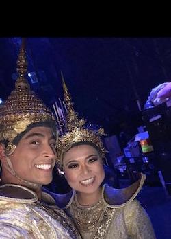 Saki Masuda backstage during 'The King and I'. Photo courtesy of Masuda.