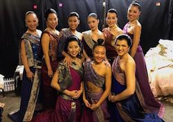 Yuki Ozeki, back left, with The King and I women ensemble. Photo courtesy of Ozeki.