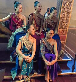 Yuki Ozeki (front left in blue) waiting during a commercial shoot for 'The King and I'. Photo courtesy of Ozeki.