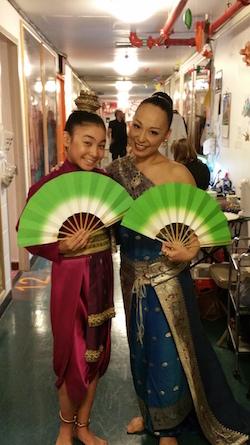 Yuki Ozeki (right) backstage before the Fan Dance for 'The King and I'. Photo courtesy of Ozeki.