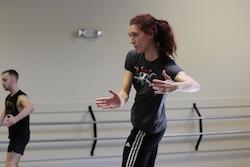 Gabrielle Lamb rehearsing Dark Circles Contemporary Dance. Photo by Joshua Peugh.