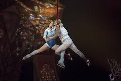 Nobahar Dadui (left) in Cirque du Soleil's 'Crystal: A breakthrough ice experience'. Photo by Matt Beard, courtesy of Cirque du Soleil 2018.