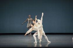 Misa Kuranaga and Patrick Yocum in George Balanchine's 'Chaconne'. © The George Balanchine Trust. Photo by Liza Voll; courtesy of Boston Ballet.