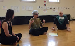 Jeanne Traxler teaching a workshop at University of Wisconsin at the 90th Anniversary of the Dance Department Celebration. Photo courtesy of Traxler.