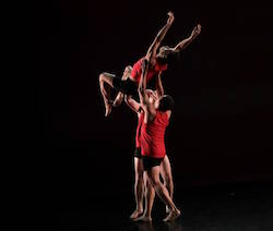 Peter Cheng held aloft by Chazz Fenner-McBride and Daniel Pigliavento in 'Undercurrent'. Photo by Dmitry Beryozkin.