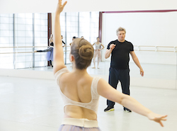 Atlanta Ballet dancers rehearsing choreography for 'The Nutcracker' with Yuri Possokhov. Photo by Kim Kenney.