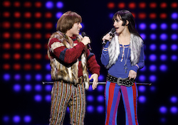 Jarrod Spector as Sonny Bono and Micaela Diamon as Babe in 'The Cher Show' on Broadway. Photo by Joan Marcus.