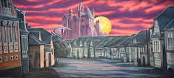 Grosh Backdrops and Drapery's 'Village with Scary Castle' backdrop.