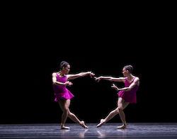Lia Cirio and Viktorina Kapitonova in William Forsythe's 'Playlist (EP)'. Photo by Angela Sterling, courtesy of Boston Ballet.