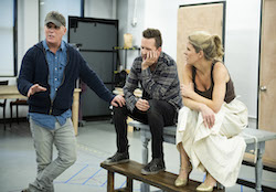 Scott Ellis, Will Chase and Kelli O'Hara in rehearsal for 'Kiss Me, Kate'. Photo by Jenny Anderson.