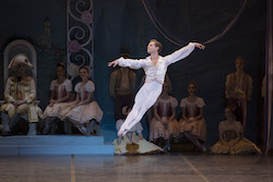Derek Dunn and Boston Ballet in George Balanchine's 'Coppélia', courtesy of The George Balanchine Trust; photo by Liza Voll, courtesy of Boston Ballet.