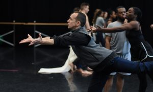 Dante Puleio rehearsing 'The Traitor' at the University of Florida.