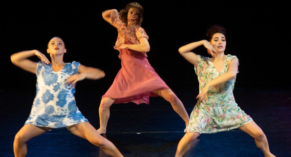 Sarah Gertler, Clare Kiklowicz and Rachele Donofrio in 'Benita Bike's Dance Art'. Photo by Dean Wallraff.