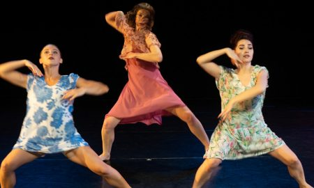 Sarah Gertler, Clare Kiklowicz and Rachele Donofrio in 'Benita Bike's Dance Art'. Photo by Dean Wallraff.