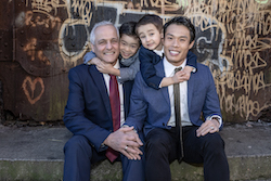 John Lam (right) and family. Photo by Alex Vainstein Photo.