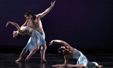 Eran Bugge, Robert Kleinendorst and Laura Halzack in 'Airs'. Photo by Paul B. Goode.