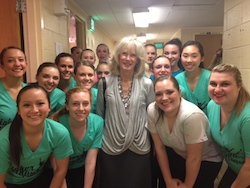 Susan Rizzo Vincent (center) with Purdue University's Higher Ground Dance Company. Photo courtesy of Rizzo Vincent.