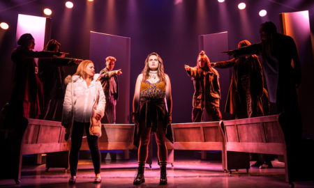 Elizabeth Stanley, Kathryn Gallagher (front) and Company of 'Jagged Little Pill'. Photo by Matthew Murphy.