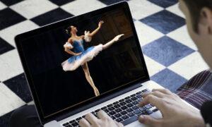 Ballerina on computer.