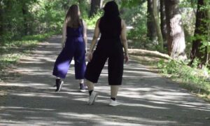 Victoria Awkward and Mickayla Kelly in 'Scrape'.