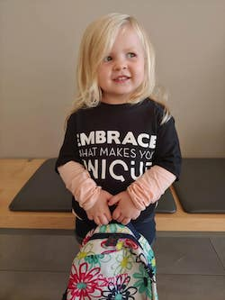 Andrij 'AJ' Deneka hopes to inspire children like Camryn Hogate (pictured) to grow up to be their authentic self. Photo courtesy of Deneka.