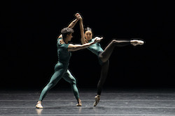 Tigran Mkrtchyan and Ji Young Chae in William Forsythe's 'In the Middle, Somewhat Elevated'. Photo by Liza Voll, courtesy of Boston Ballet.