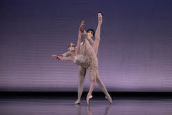 Viktorina Kapitonova and Tigran Mkrtchyan in BB@yourhome/ 'The Gift'. Photo by Brooke Trisolini, courtesy of Boston Ballet.