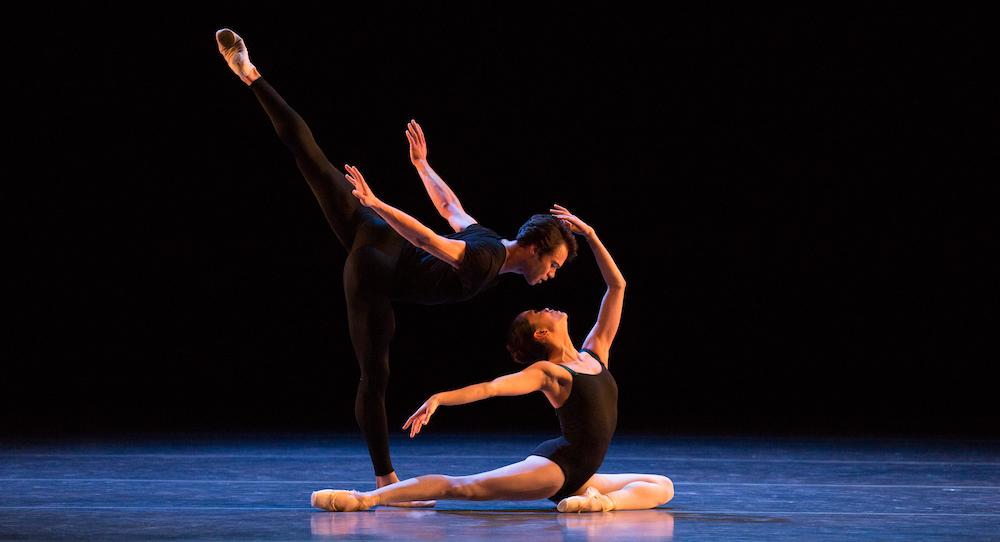 Boston Ballet's Paulo Arrais and Lia Cirio in Jorma Elo's 'Bach Cello Suites'. Photo by Rosalie O'Connor, courtesy of Boston Ballet.