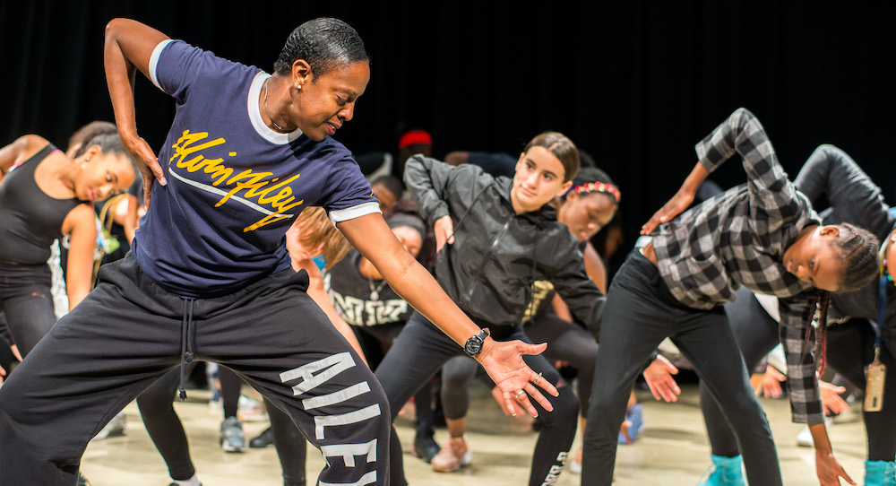Nasha Thomas leading 'Revelations' Residency at Richmond Heights Middle School. Photo by Justin Namon, courtesy of Arsht Center.