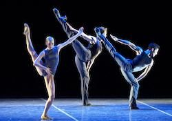 Whitney Jensen, Bo Busby and Jeffrey Cirio in Jorma Elo's 'Plan to B'. Photo by Gene Shiavone, courtesy of Boston Ballet.