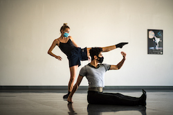 TRBP dancers Chelsea Kuhn and Rony Lenis rehearsing Jeremy Zapanta's 'Sideswiped'. Photo by Carly Topazio.