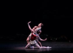 Teresa Reichlen and Daniel Ulbricht in George Balanchine's 'Prodigal Son'. Photo by Paul Kolnik.