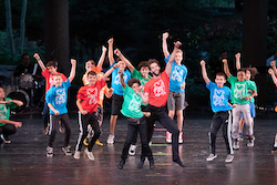The children of 'Celebrate the Beat' and James Whiteside perform at the 2019 Vail Dance Festival. Photo by Christopher Duggan.