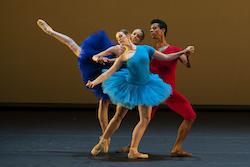 Kiely Groenewegen, Emily Hayes and Jose Sebastian in 'La Follia Variations'. Photo by Todd Rosenberg Photography.