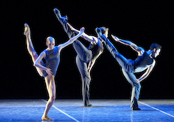 Boston Ballet's Whitney Jensen, Jeffrey Cirio and Bo Busby in Jorma Elo's 'Plan to B'. Photo by Gene Schiavone, courtesy of Boston Ballet.