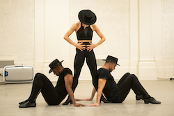 Phillip DeCeus, Georgina Pazcoguin and Tyler Eisenreich rehearsing 'Sweet Gwen Suite'. Photo by Paula Lobo.