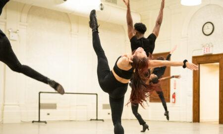 Tyler Eisenreich, Georgina Pazcoguin, Phillip DeCeus, Khori Petinaud and Sam Faulkner rehearsing 'Sweet Gwen Suite'. Photo by Paula Lobo.