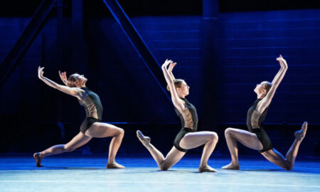 American Repertory Ballet's Annie Johnson, Shaye Firer and Erikka Reenstierna-Cates in Amy Seiwert's 'World, Interrupted'. Photo by Eduardo Patino.